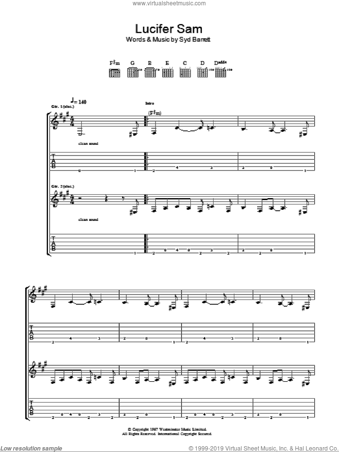 Lucifer Sam sheet music for guitar (tablature) by Pink Floyd and Syd Barrett. Score Image Preview.