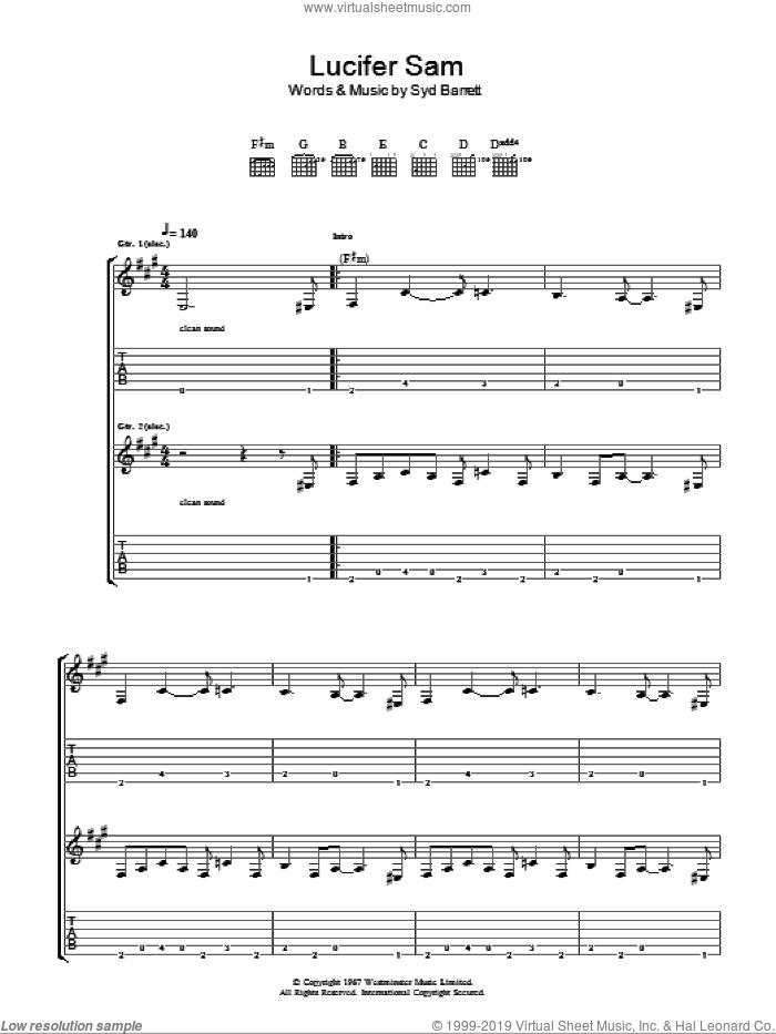 Lucifer Sam sheet music for guitar (tablature) by Pink Floyd and Syd Barrett, intermediate skill level