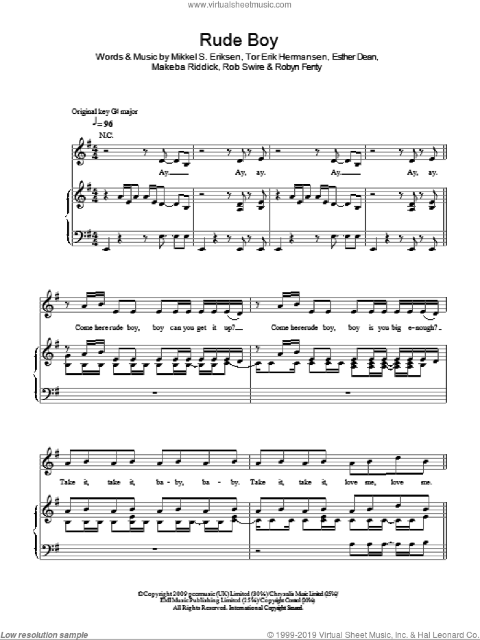 Rude Boy sheet music for voice, piano or guitar by Rihanna, Ester Dean, Makeba Riddick, Mikkel S. Eriksen, Rob Swire, Robyn Fenty and Tor Erik Hermansen, intermediate skill level
