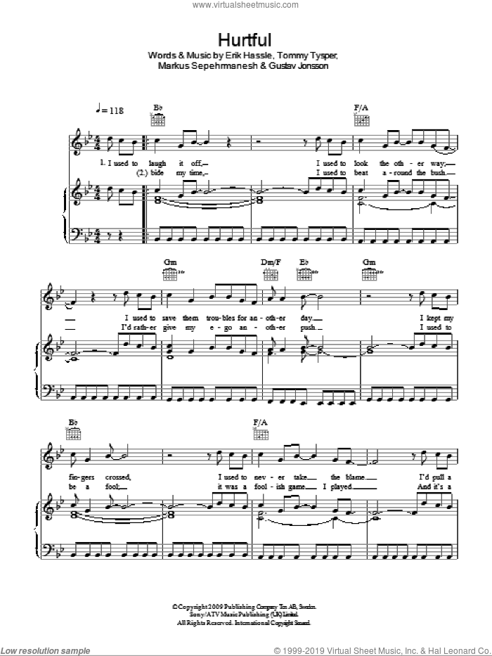 Hurtful sheet music for voice, piano or guitar by Erik Hassle. Score Image Preview.