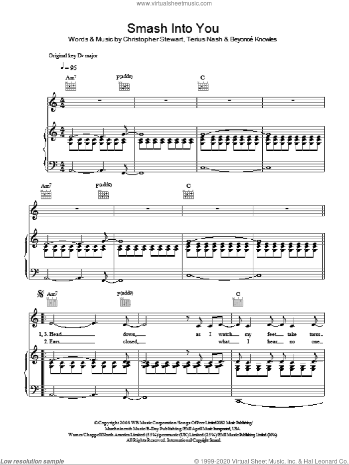 Smash Into You sheet music for voice, piano or guitar by Terius Nash, Beyonce, Beyonce Knowles and Christopher Stewart. Score Image Preview.