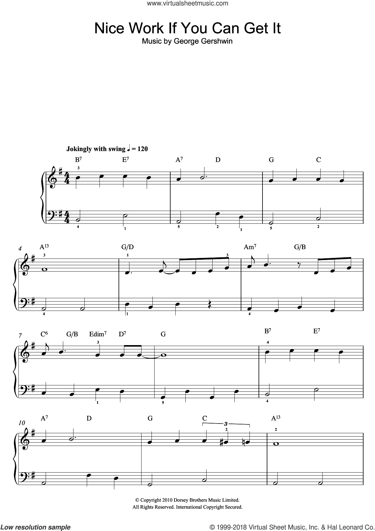 Nice Work If You Can Get It, (easy) sheet music for piano solo by George Gershwin, easy skill level