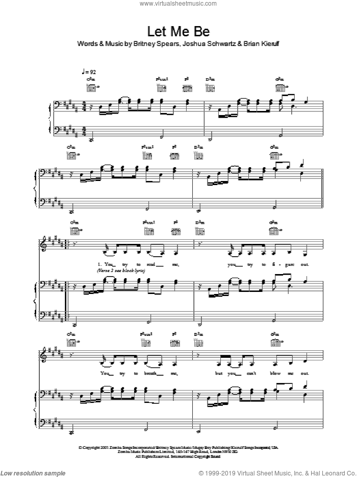 Let Me Be sheet music for voice, piano or guitar by Joshua Schwartz