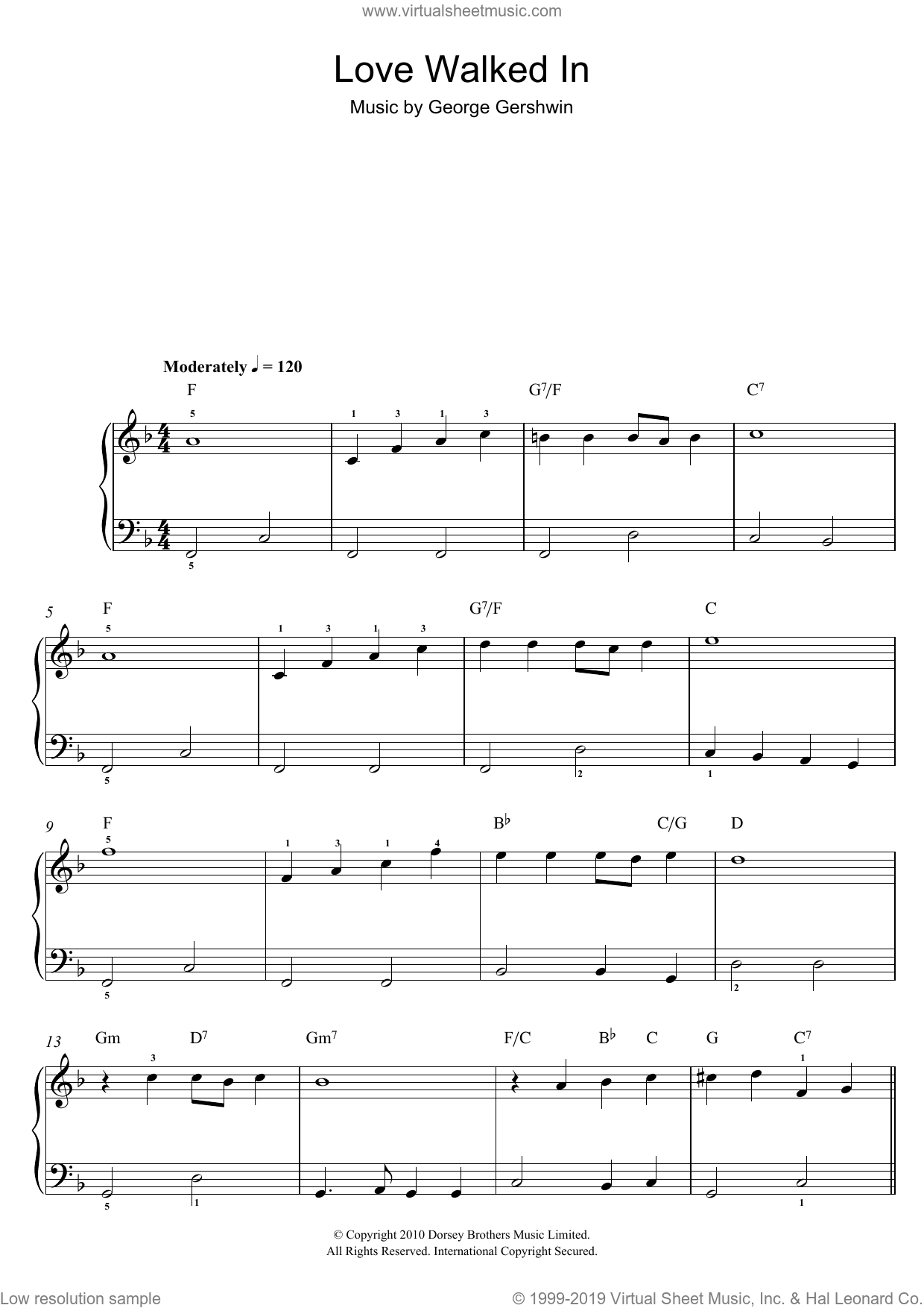 Love Walked In sheet music for piano solo by George Gershwin. Score Image Preview.
