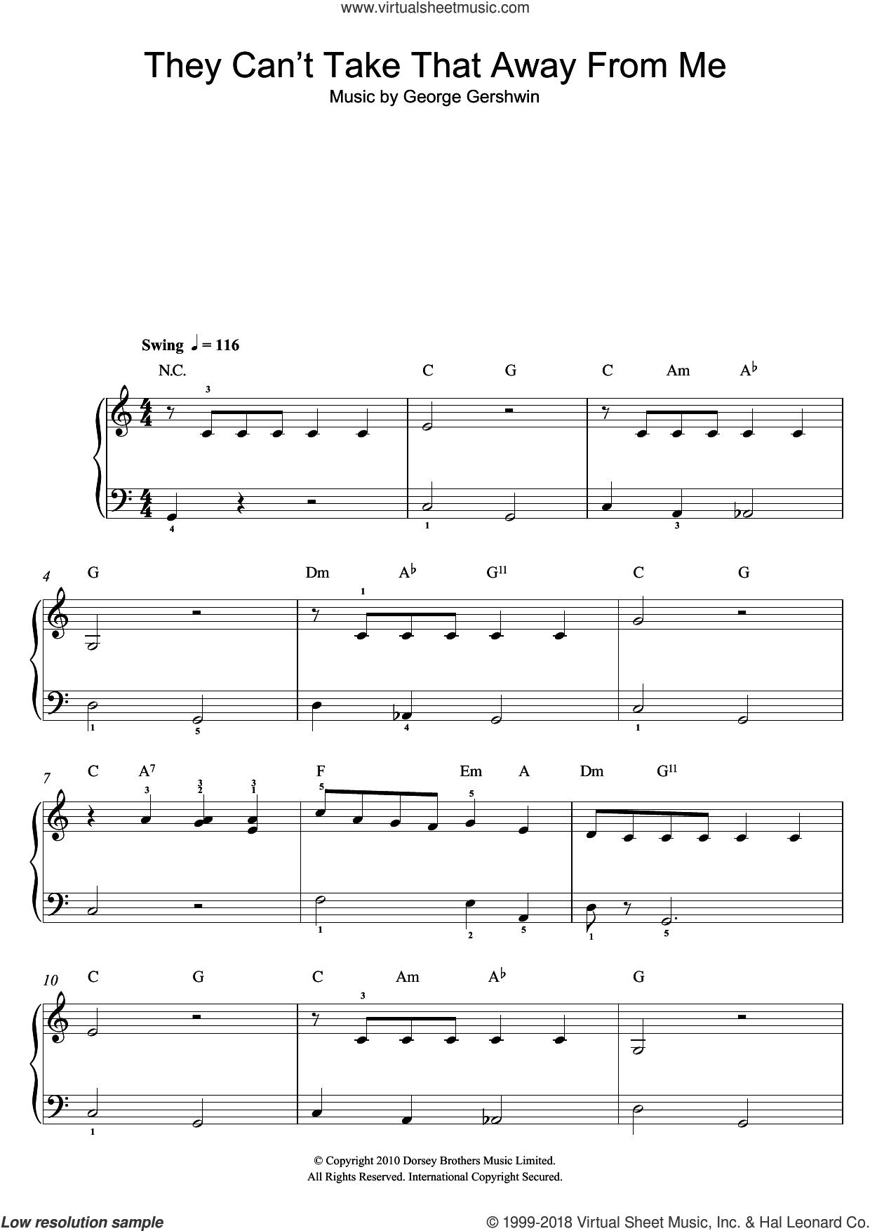 They Can't Take That Away From Me sheet music for piano solo by George Gershwin, easy. Score Image Preview.