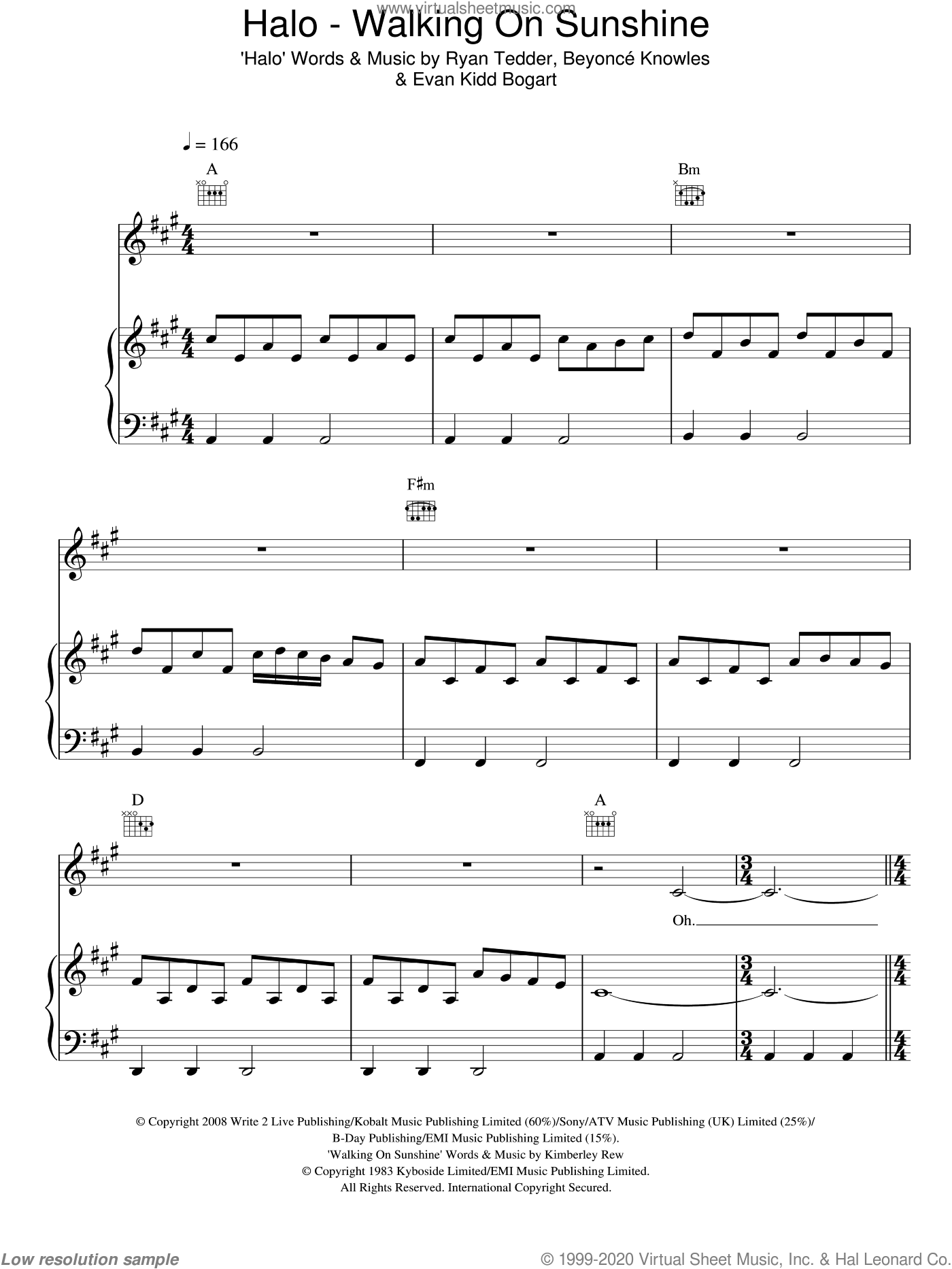 Halo / Walking On Sunshine sheet music for voice, piano or guitar by Ryan Tedder, Glee Cast, Miscellaneous, Beyonce Knowles and Kimberley Rew. Score Image Preview.