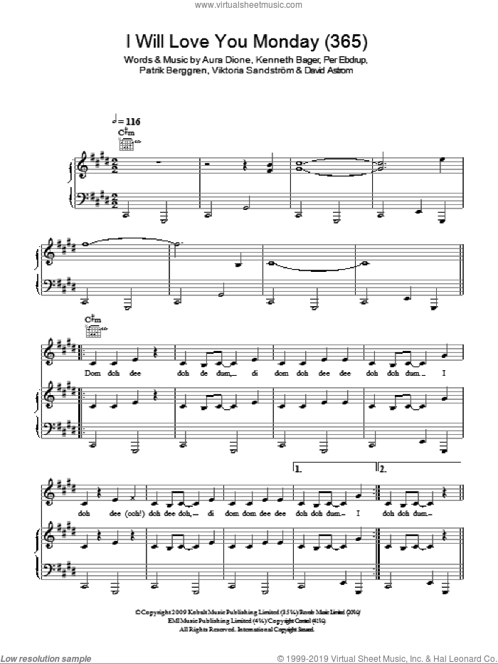 I Will Love You Monday (365) sheet music for voice, piano or guitar by Aura Dione, David Astrom, Kenneth Bager, Patrik Berggren, Per Ebdrup, Viktoria Sandstraum and Viktoria Sandstrom, intermediate skill level