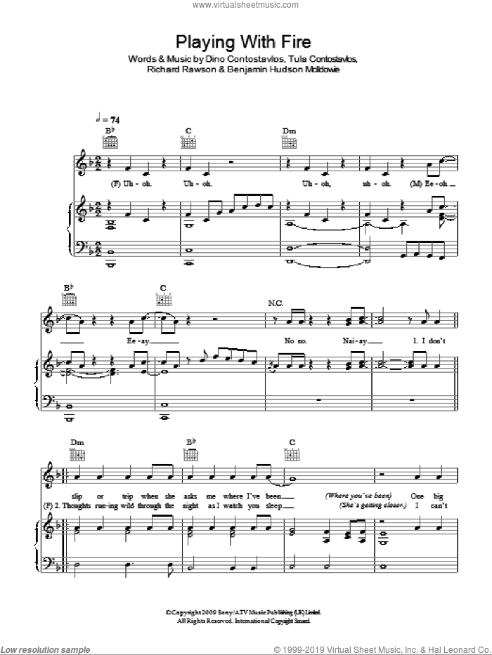 Playing With Fire sheet music for voice, piano or guitar by Tula Contostavlos and Richard Rawson. Score Image Preview.