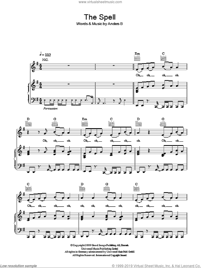 The Spell sheet music for voice, piano or guitar by Anders B
