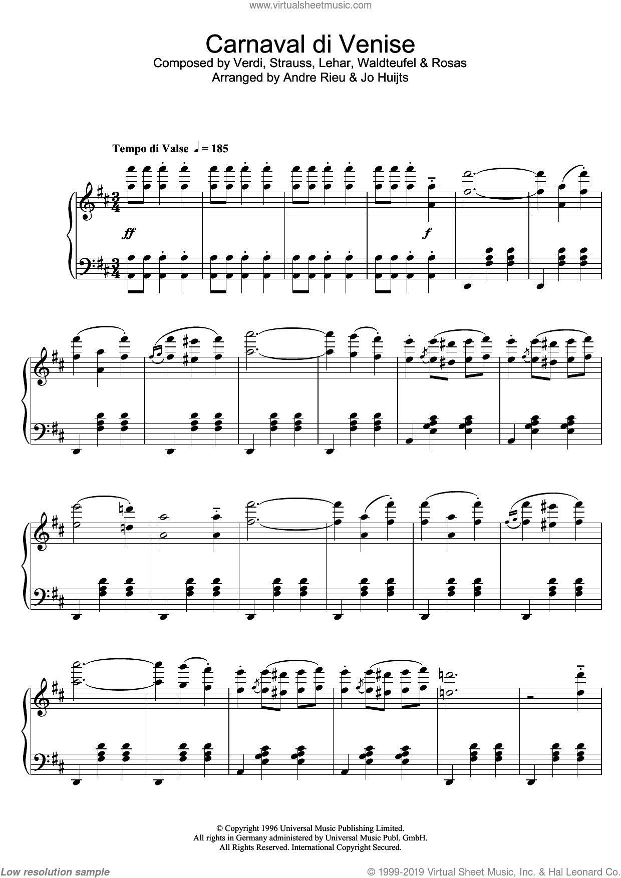 Carnaval de Venise sheet music for piano solo by Juventino Rosas