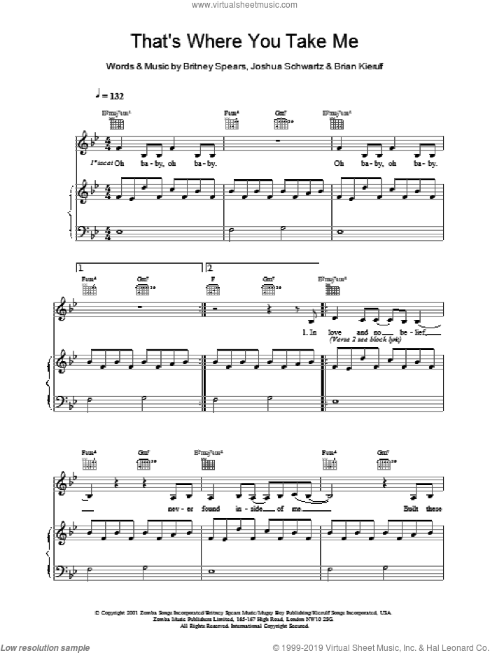 That's Where You Take Me sheet music for voice, piano or guitar by Britney Spears, Brian Kierulf and Joshua Schwartz, intermediate skill level