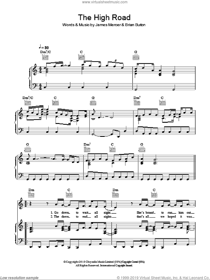 The High Road sheet music for voice, piano or guitar by James Mercer and Brian Burton. Score Image Preview.
