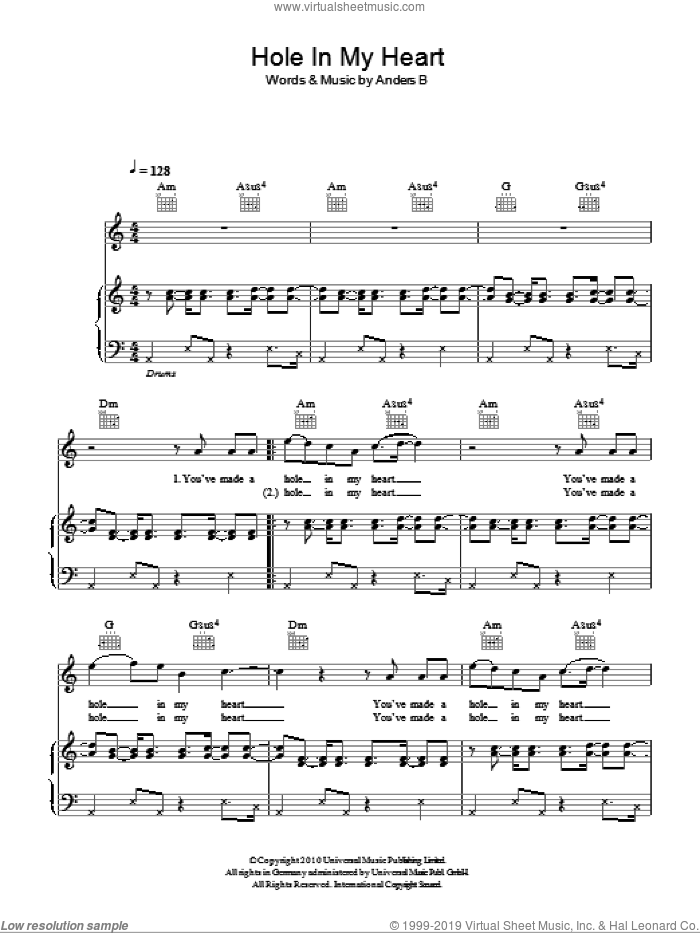Hole In My Heart sheet music for voice, piano or guitar by Anders B. Score Image Preview.