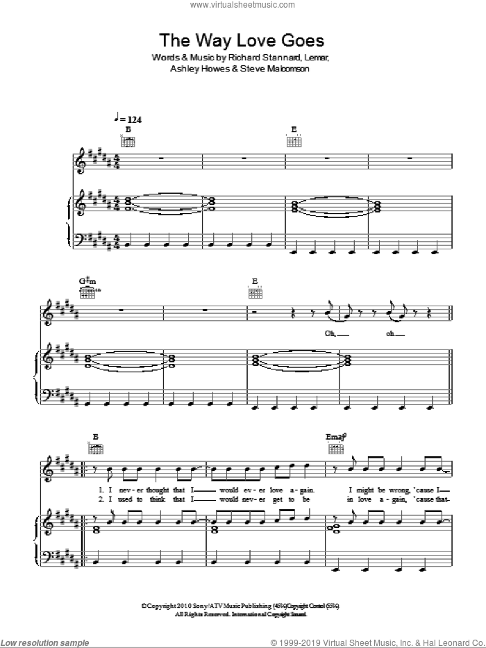 The Way Love Goes sheet music for voice, piano or guitar by Lemar, Ashley Howes, Richard Stannard and Steve Malcomson, intermediate skill level