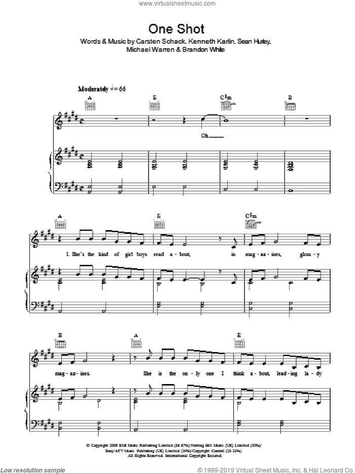 One Shot sheet music for voice, piano or guitar by Sean Hurley and Kenneth Karlin. Score Image Preview.