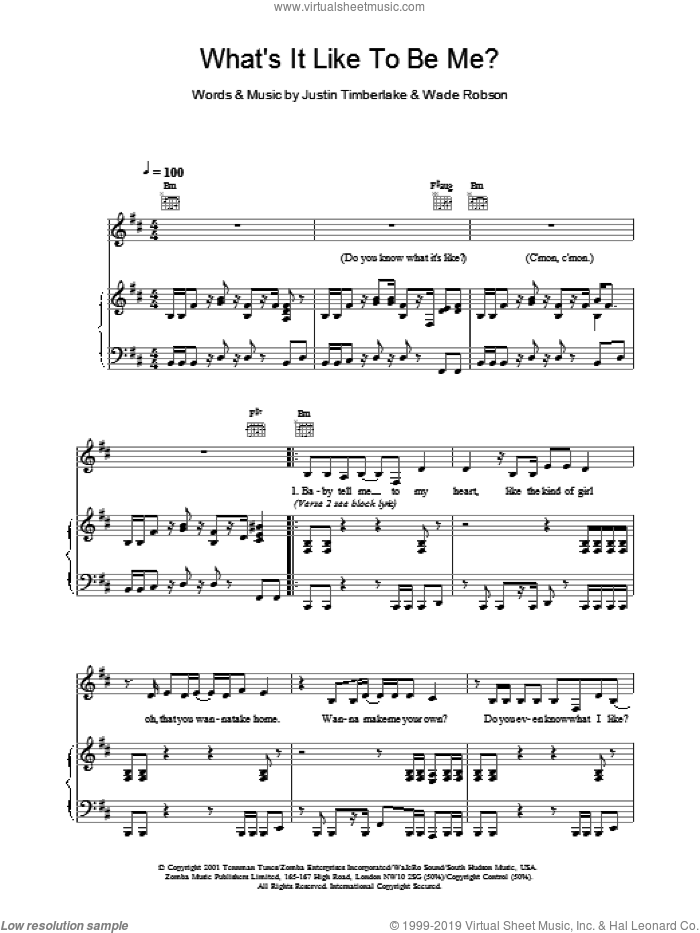 What It's Like To Be Me sheet music for voice, piano or guitar by Britney Spears and Justin Timberlake, intermediate voice, piano or guitar. Score Image Preview.