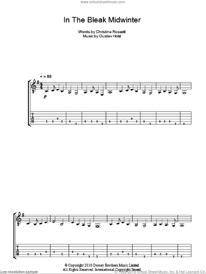 In The Bleak Midwinter sheet music for guitar (tablature) by Gustav Holst and Christina Rossetti, intermediate. Score Image Preview.