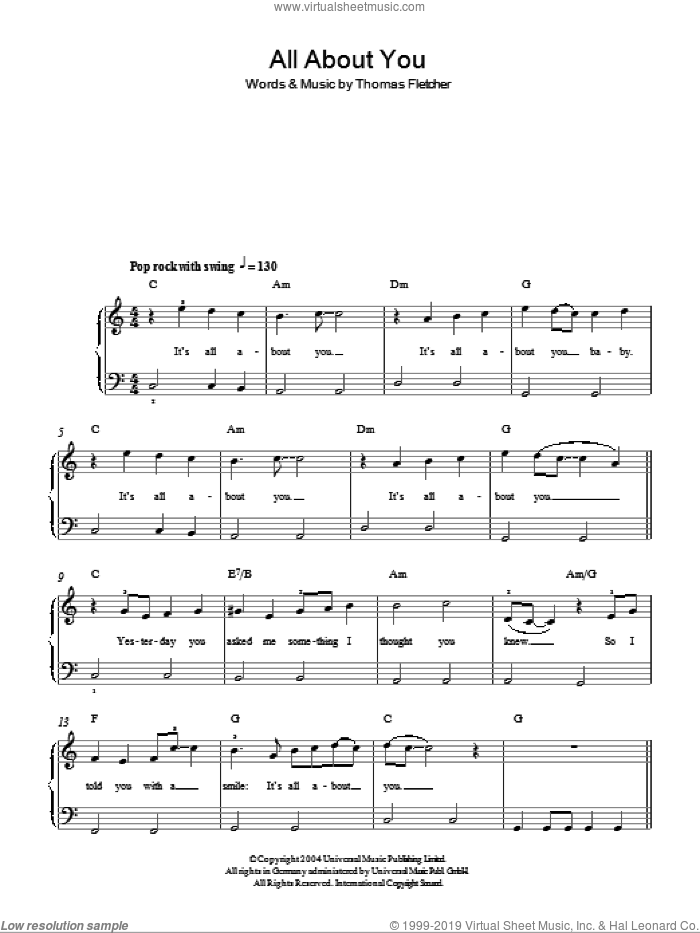 All About You sheet music for piano solo by McFly and Thomas Fletcher, easy skill level