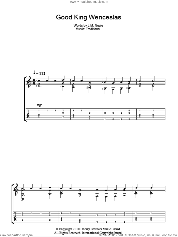 Good King Wenceslas sheet music for guitar (tablature) by John Mason Neale. Score Image Preview.