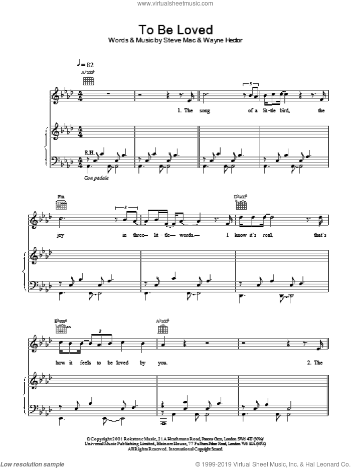 To Be Loved sheet music for voice, piano or guitar by Westlife, Steve Mac and Wayne Hector, intermediate skill level