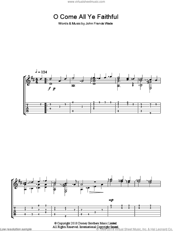 O Come, All Ye Faithful (Adeste Fideles) sheet music for guitar (tablature) by John Francis Wade. Score Image Preview.