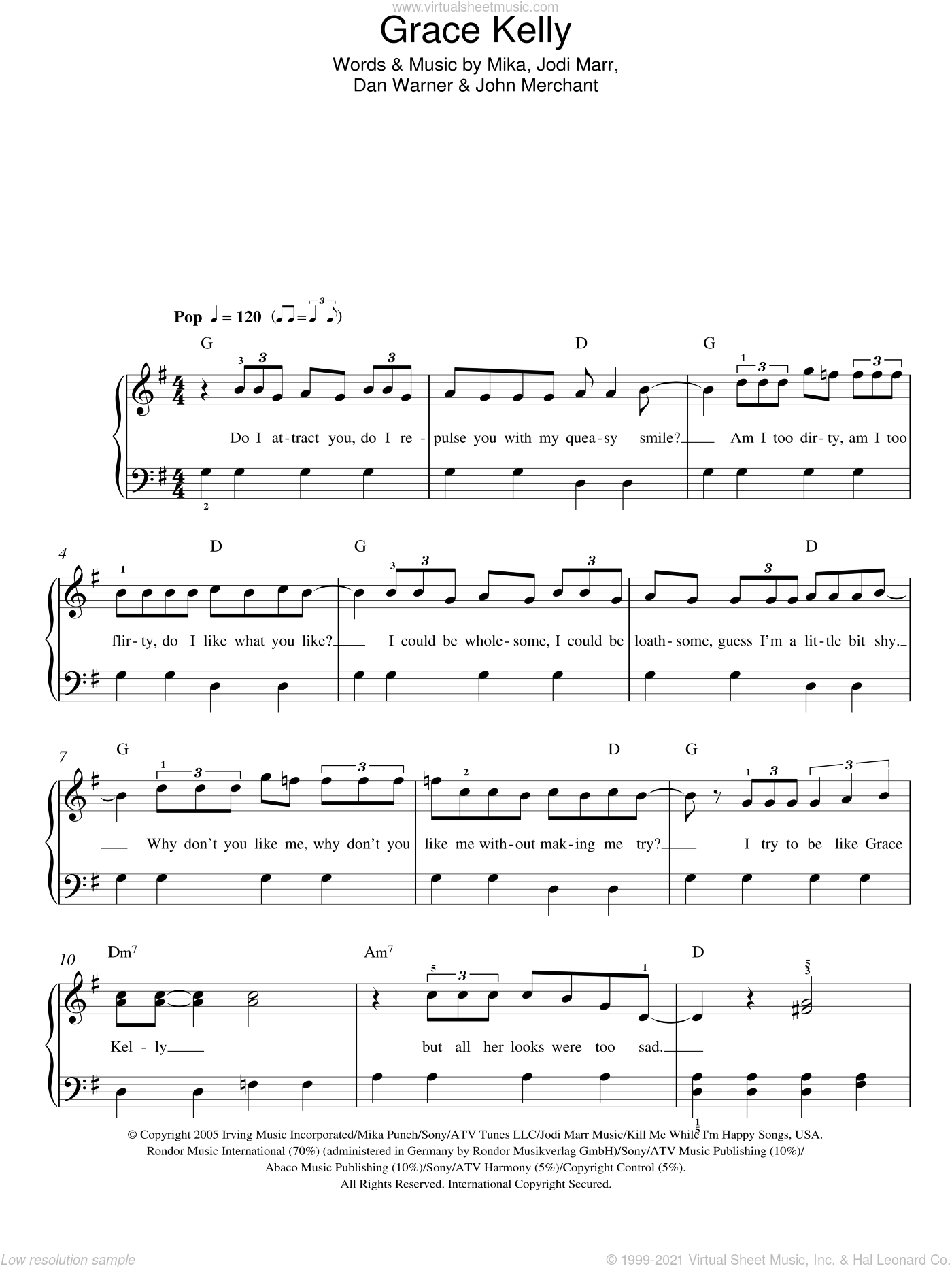 Grace Kelly sheet music for piano solo (chords) by John Merchant