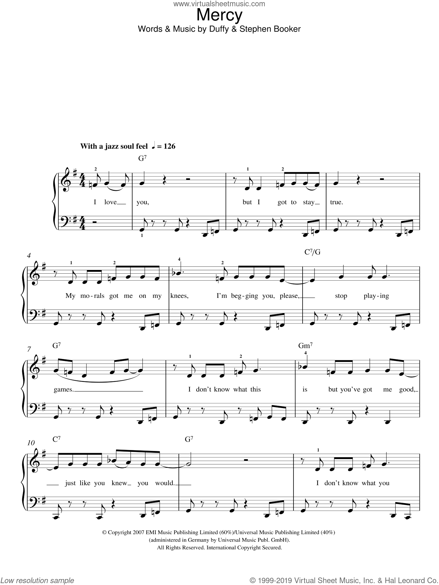 Mercy sheet music for piano solo by Steve Booker and Aimee Duffy. Score Image Preview.