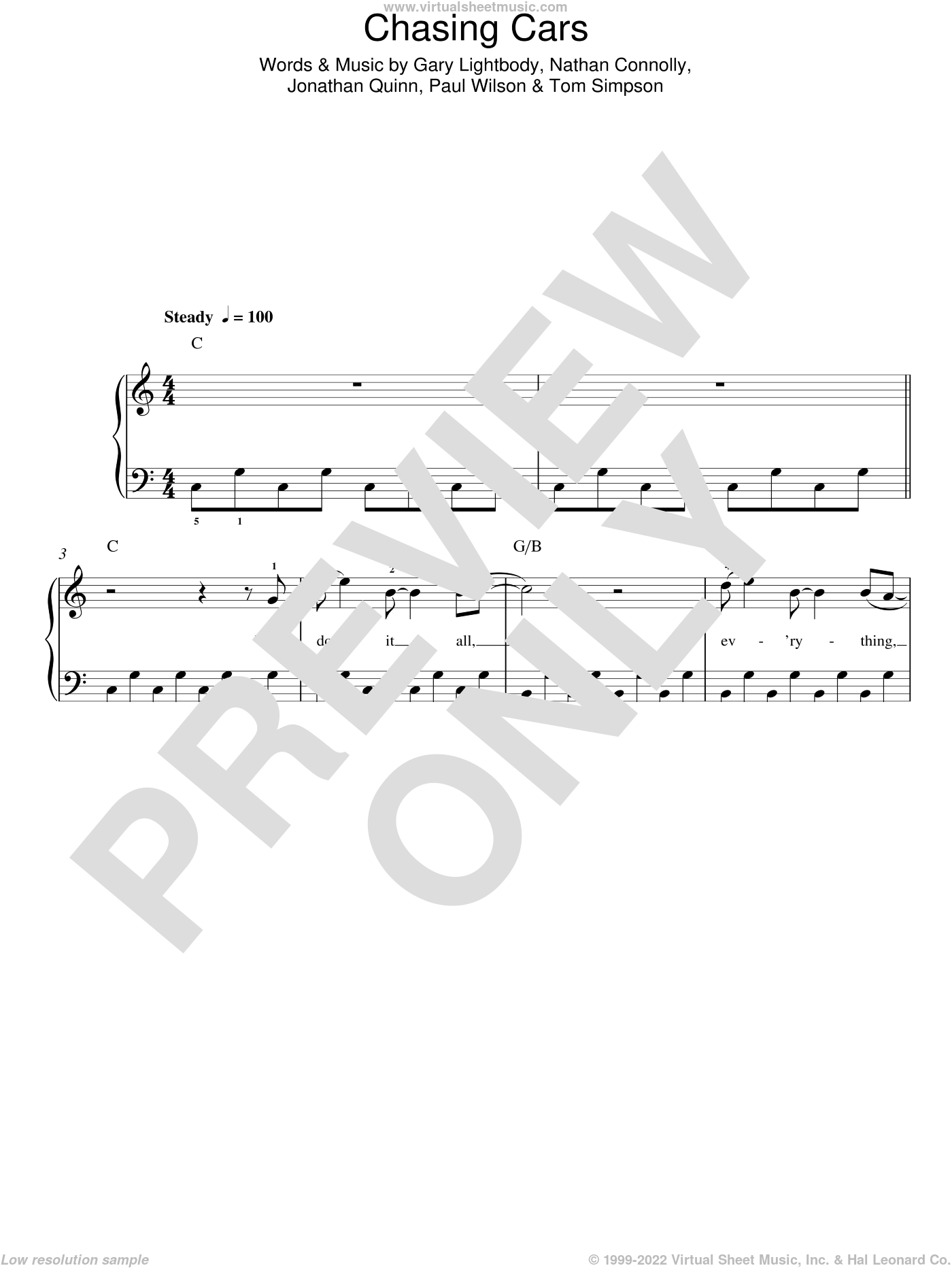 Chasing Cars sheet music for piano solo (chords) by Tom Simpson