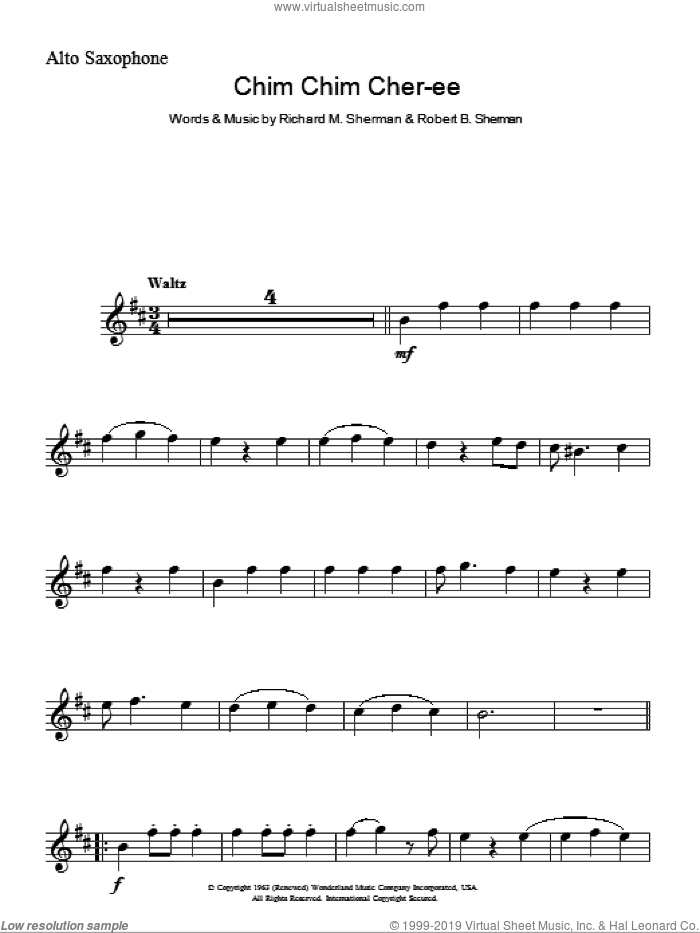 Chim Chim Cher-ee sheet music for voice and other instruments (fake book) by Dick Van Dyke, Richard M. Sherman and Robert B. Sherman, intermediate. Score Image Preview.