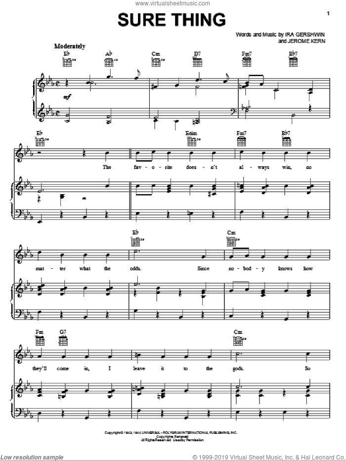Sure Thing sheet music for voice, piano or guitar by Ira Gershwin and Jerome Kern. Score Image Preview.
