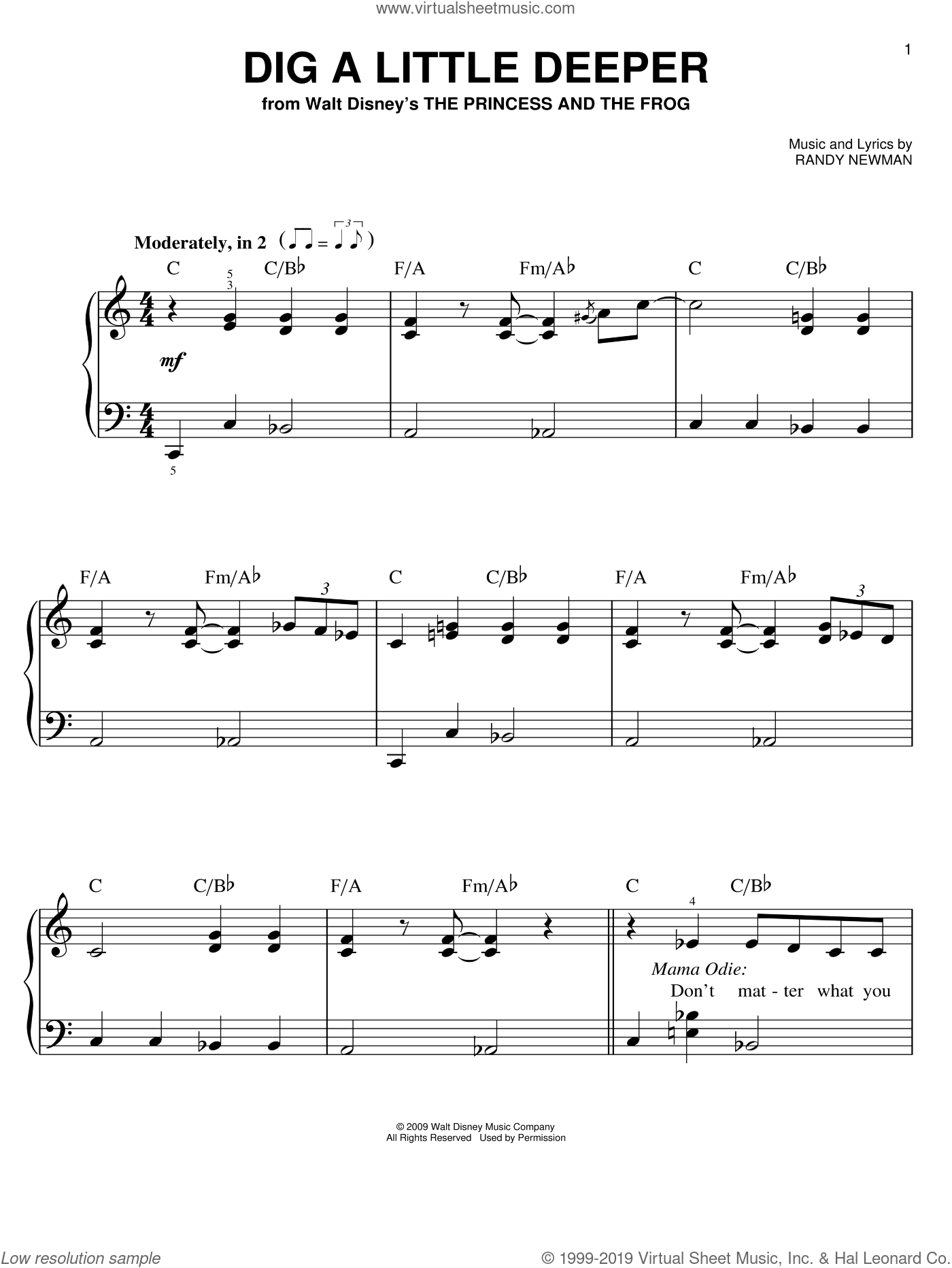 Dig A Little Deeper sheet music for piano solo by Randy Newman, Jennifer Lewis and The Princess And The Frog (Movie), easy skill level