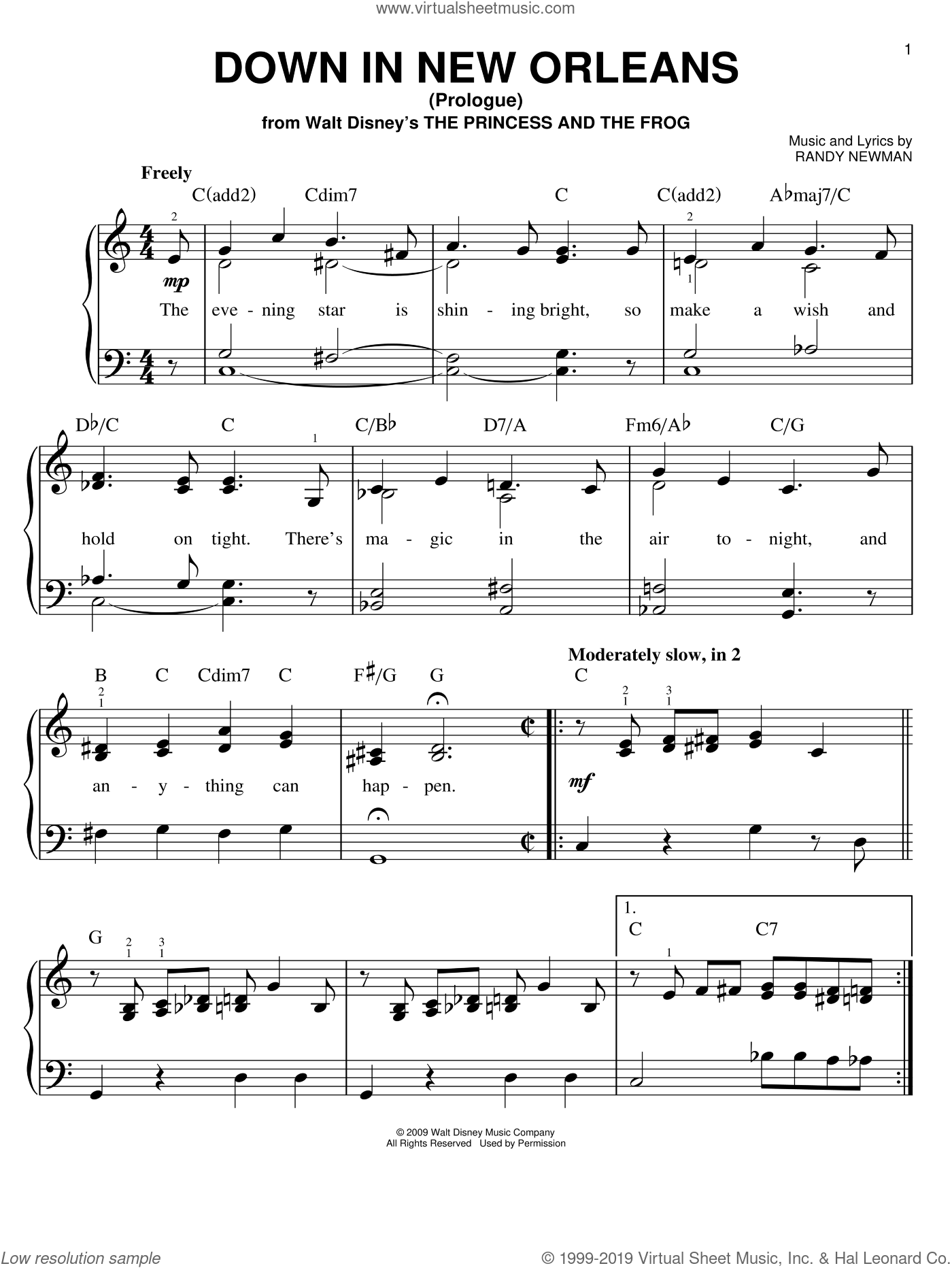 Down In New Orleans sheet music for piano solo by Anika Noni Rose, The Princess And The Frog (Movie) and Randy Newman, easy skill level