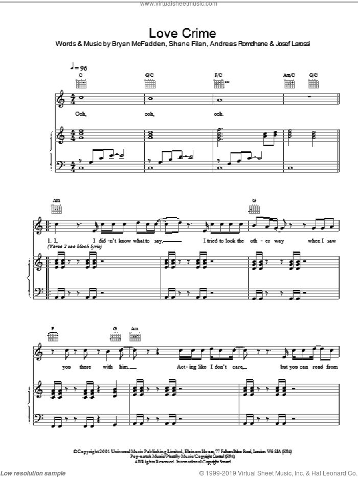 Love Crime sheet music for voice, piano or guitar by Westlife and Brian McFadden, intermediate skill level