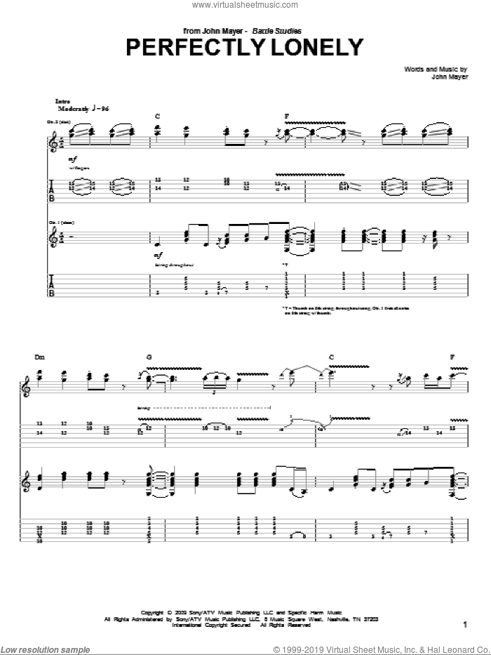 Perfectly Lonely sheet music for guitar (tablature) by John Mayer. Score Image Preview.