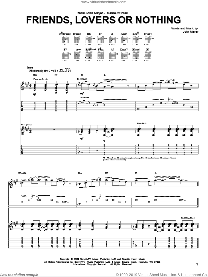 Friends, Lovers Or Nothing sheet music for guitar (tablature) by John Mayer. Score Image Preview.