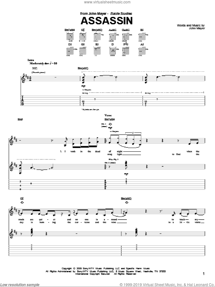 Assassin sheet music for guitar (tablature) by John Mayer, intermediate