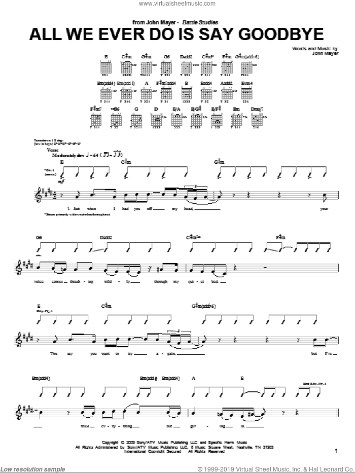All We Ever Do Is Say Goodbye sheet music for guitar (tablature) by John Mayer. Score Image Preview.