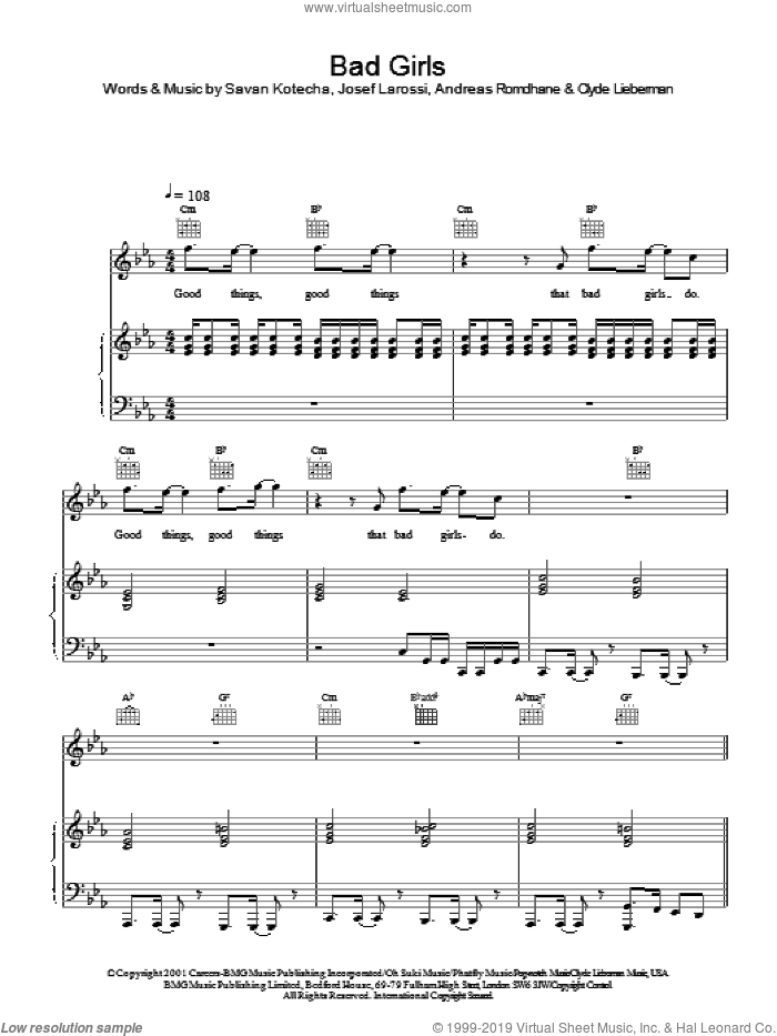 Bad Girls sheet music for voice, piano or guitar by Savan Kotecha