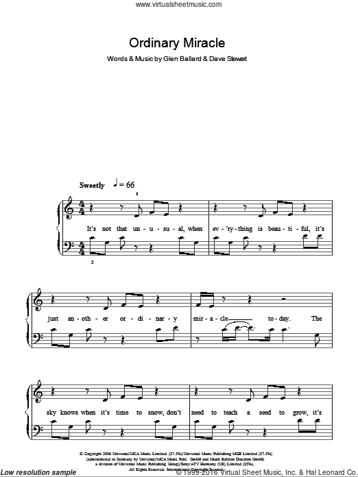 Ordinary Miracle sheet music for piano solo (chords) by Glen Ballard