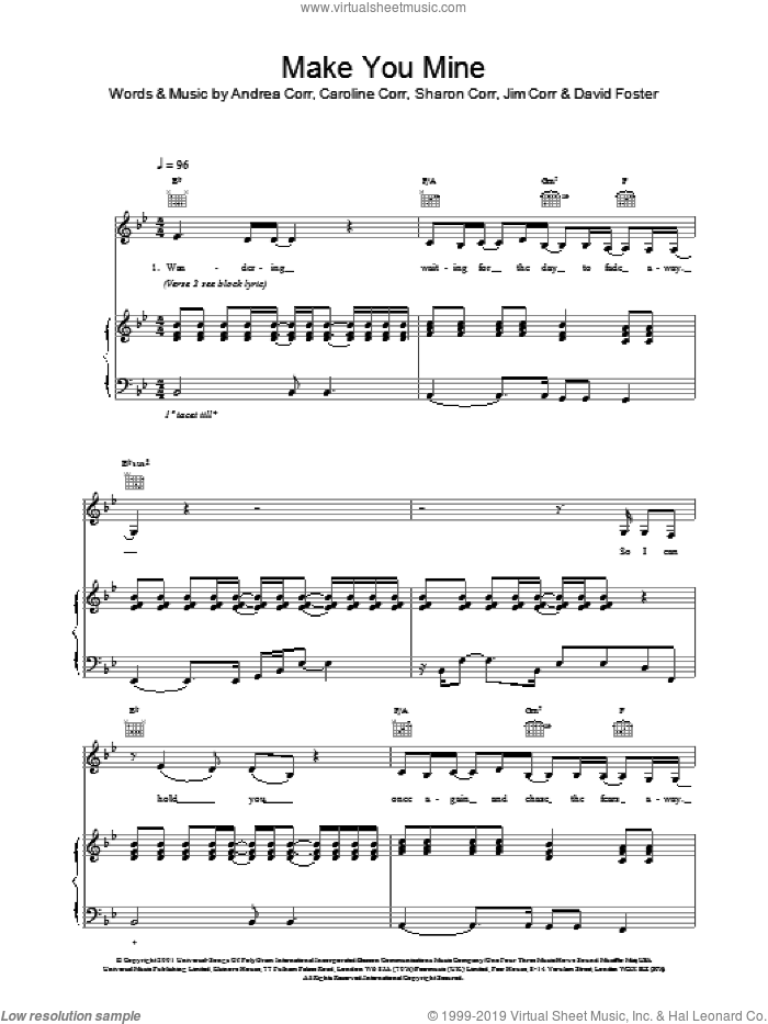 Make You Mine sheet music for voice, piano or guitar by The Corrs and Andrea Corr. Score Image Preview.