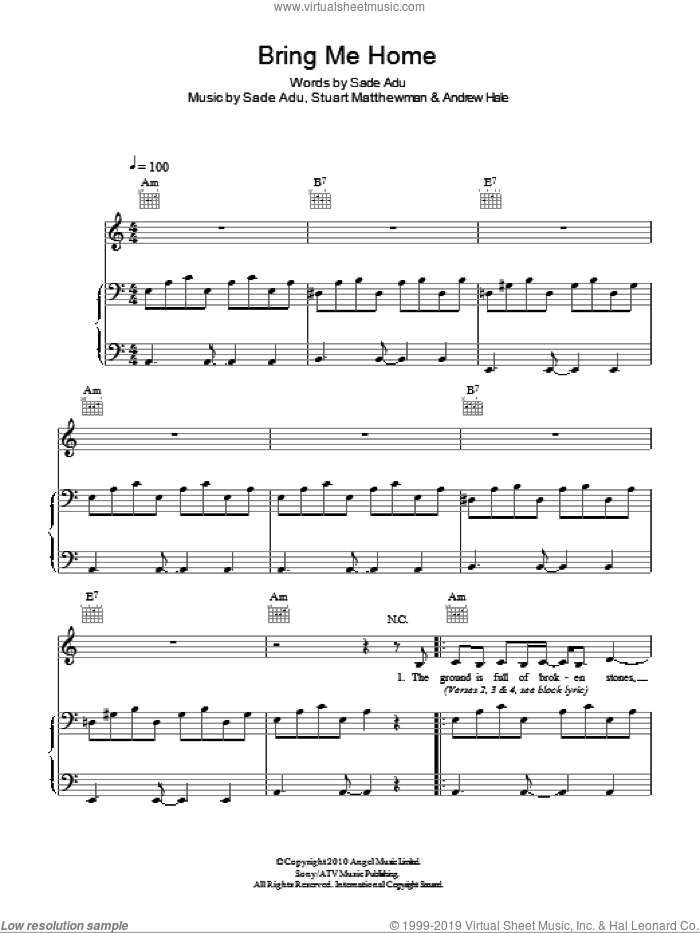 Bring Me Home sheet music for voice, piano or guitar by Sade. Score Image Preview.