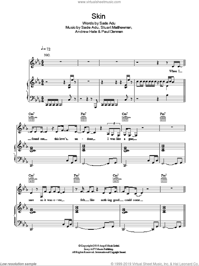 Skin sheet music for voice, piano or guitar by Stuart Matthewman