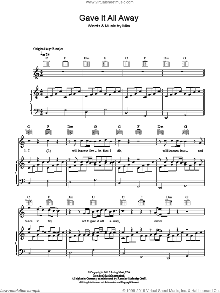 Gave It All Away sheet music for voice, piano or guitar by Mika