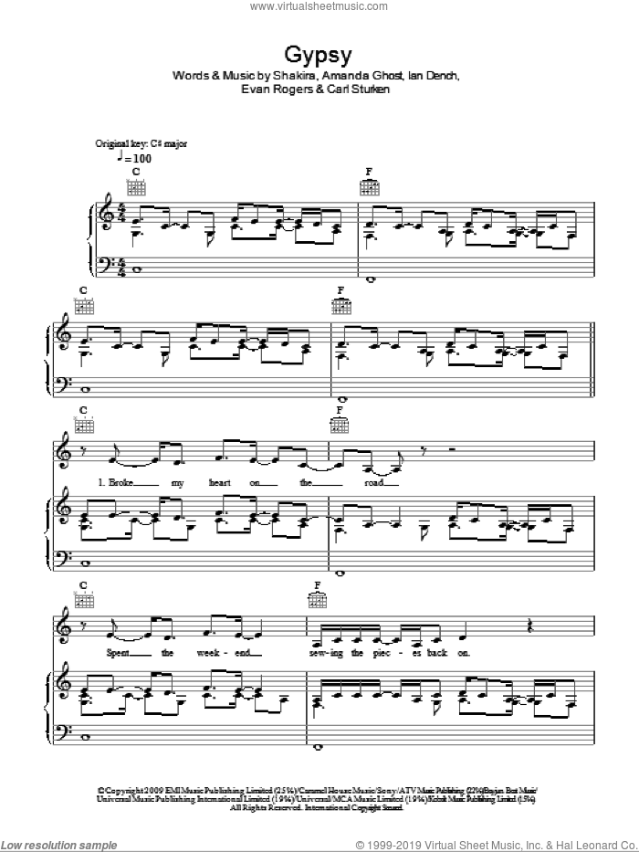Gypsy sheet music for voice, piano or guitar by Shakira, Amanda Ghost, Carl Sturken, Evan Rogers and Ian Dench, intermediate skill level