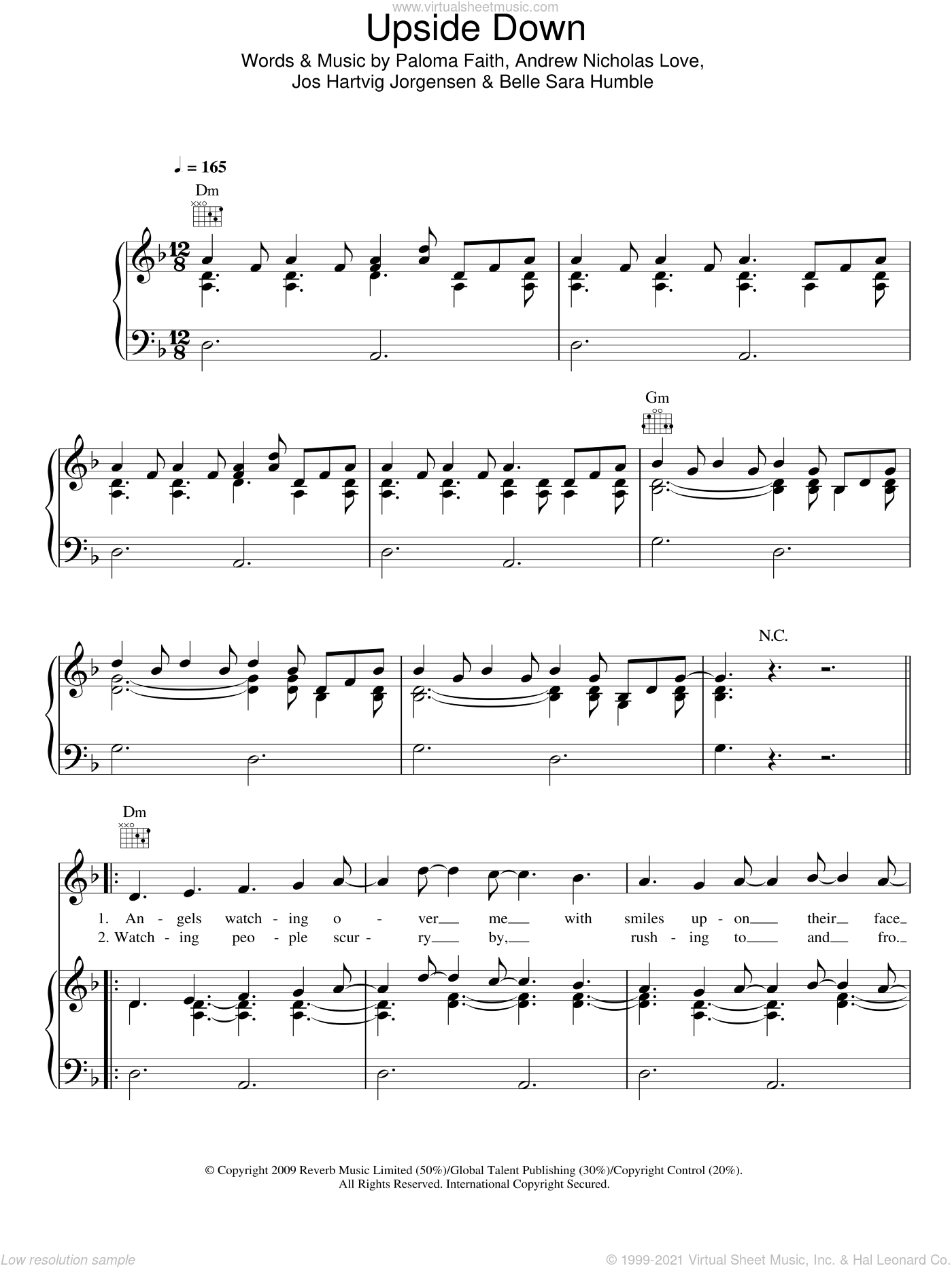 Upside Down sheet music for voice, piano or guitar by Paloma Faith, Andrew Nicholas Love, Belle Sara Humble and Jos Hartvig Jorgensen, intermediate skill level