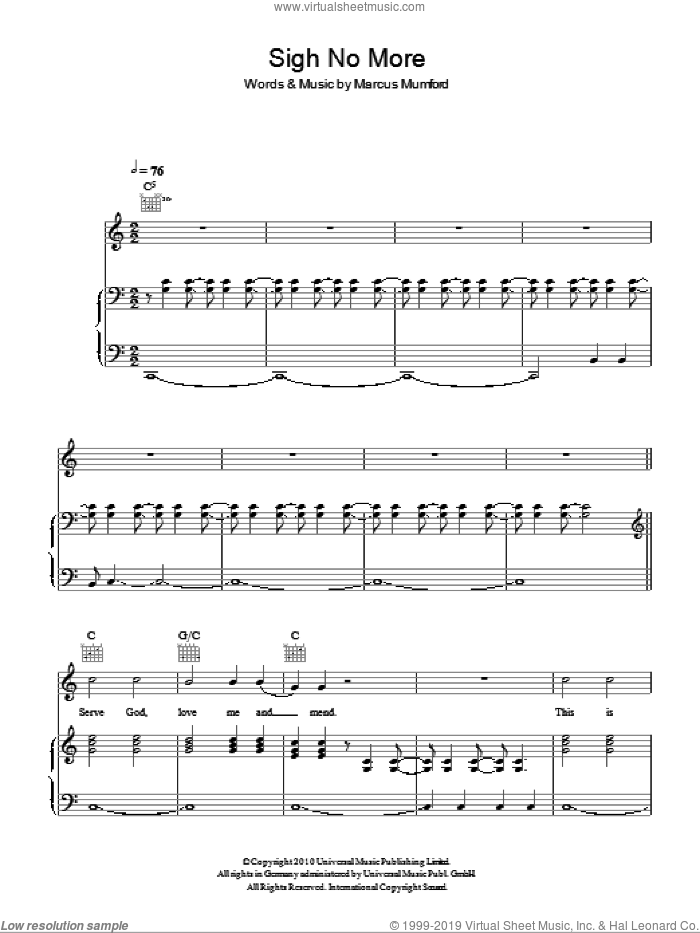Sigh No More sheet music for voice, piano or guitar by Mumford & Sons and Marcus Mumford, intermediate. Score Image Preview.