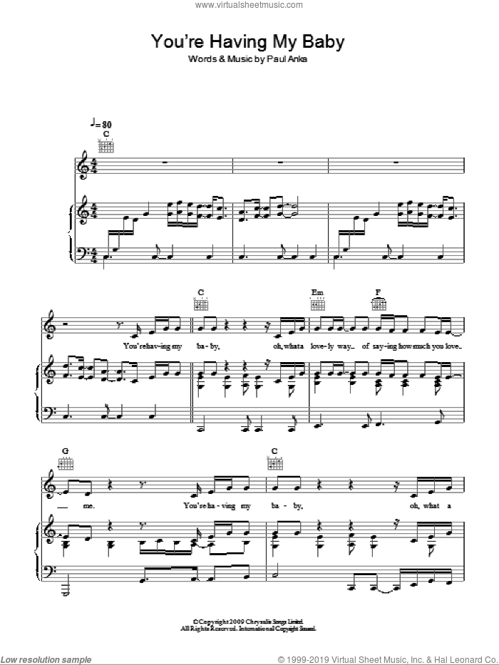(You're) Having My Baby sheet music for voice, piano or guitar by Glee Cast, Miscellaneous and Paul Anka, intermediate skill level