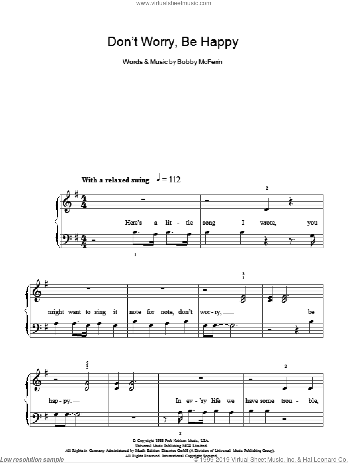 Don't Worry, Be Happy sheet music for piano solo (chords) by Bobby McFerrin