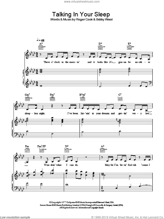 Talking In Your Sleep sheet music for voice, piano or guitar by Crystal Gayle, Reba McEntire, Bobby Wood and Roger Cook, intermediate skill level