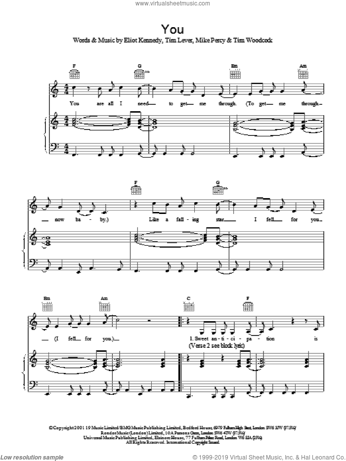You sheet music for voice, piano or guitar by S Club 7, Eliot Kennedy, Mike Percy and Tim Lever, intermediate. Score Image Preview.